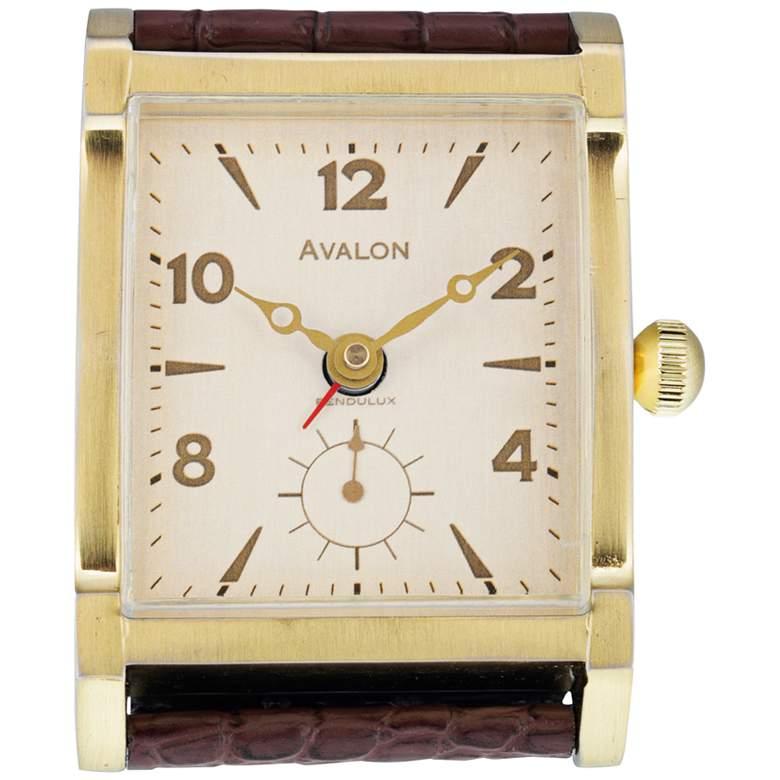 """Avalon 4""""H Antique Brass Tank-Watch Retro Alarm Clock"""