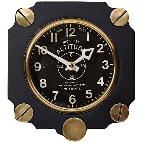"""Altimeter 7 1/2""""H Black World War II Aircraft Wall Clock"""