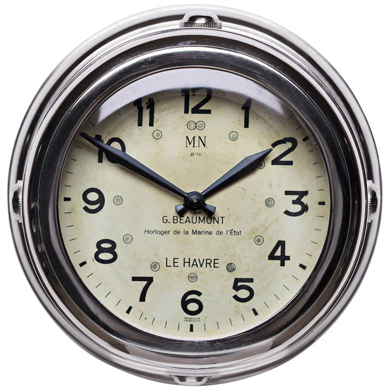 "Deckhand 8 1/2""W Nickel French Navy Replica Wall Clock"