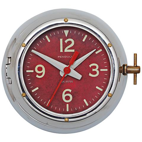 "Deep Sea 9"" Wide Aluminum Cold War Submarine Wall Clock"