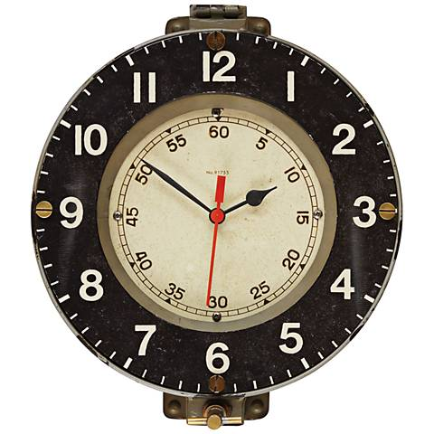 "Marine 14 1/2"" Wide Gray French Navy Replica Wall Clock"