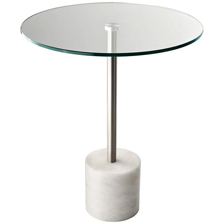 """Blythe 17 3/4"""" Wide Round End Table with White Marble Base"""