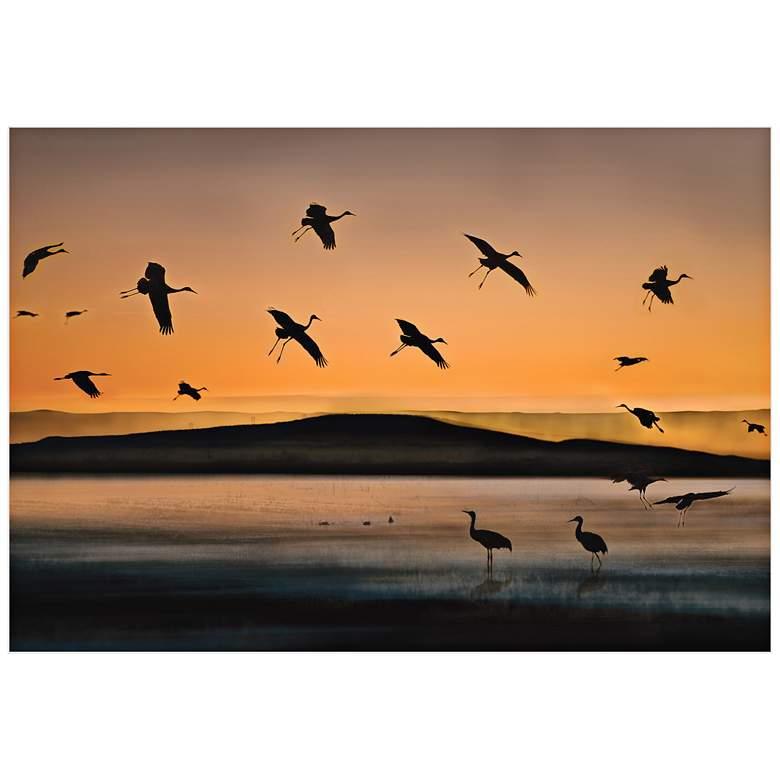 "Cranes at Sunset 32"" Wide Wall Art Print"