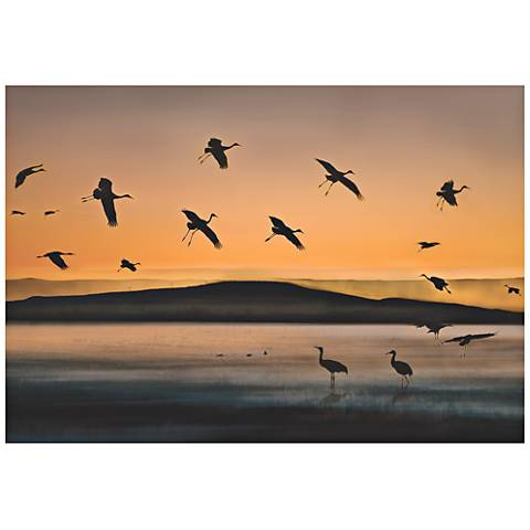 """Cranes at Sunset 32"""" Wide Giclee Metal Wall Art"""