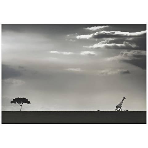 "Giraffe on the Horizon 32"" Wide Giclee Metal Wall Art"