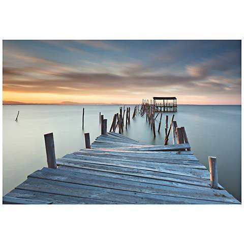 "Collapsed Dock 32"" Wide Giclee Metal Wall Art"