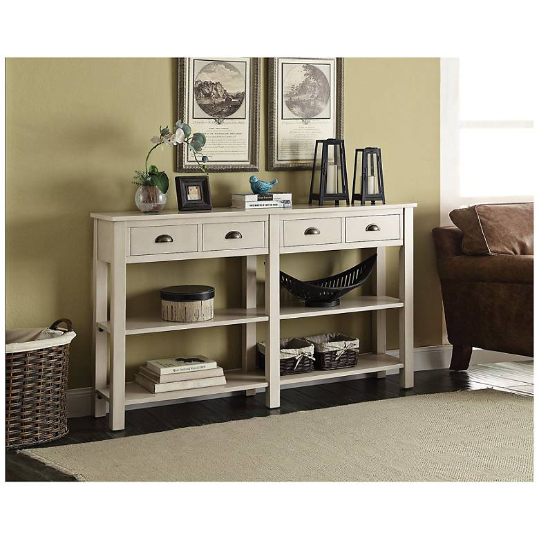 """Nathan 60"""" Wide Cream 4-Drawer Medium Console Table"""