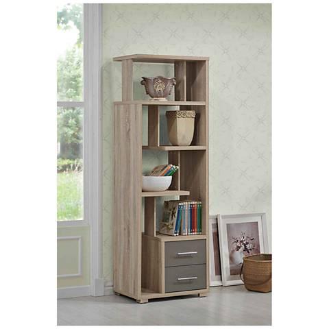 Antonio Light Oak 4-Shelf 2-Drawer Bookcase