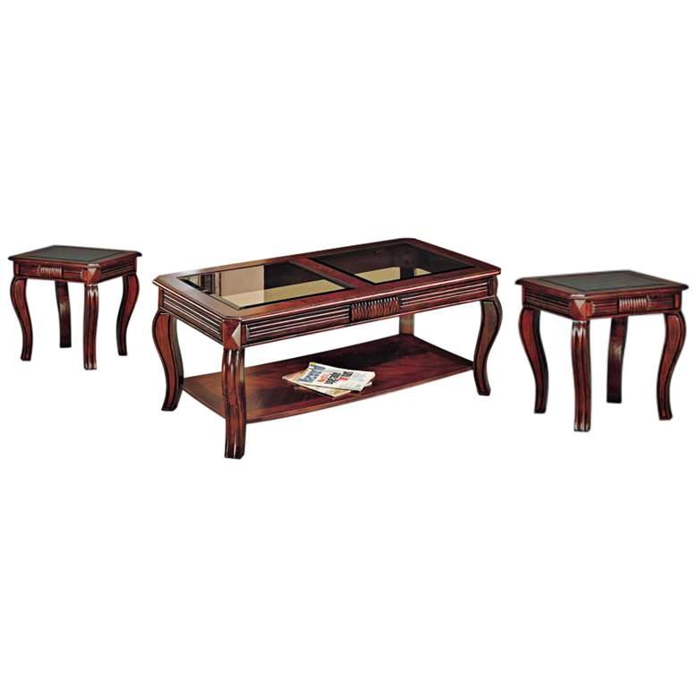 Christoff Cherry Wood Finish 3-Piece Living Room Table Set