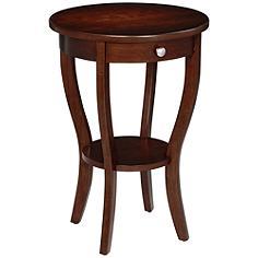 Lindsey Round Dark Walnut Accent Table