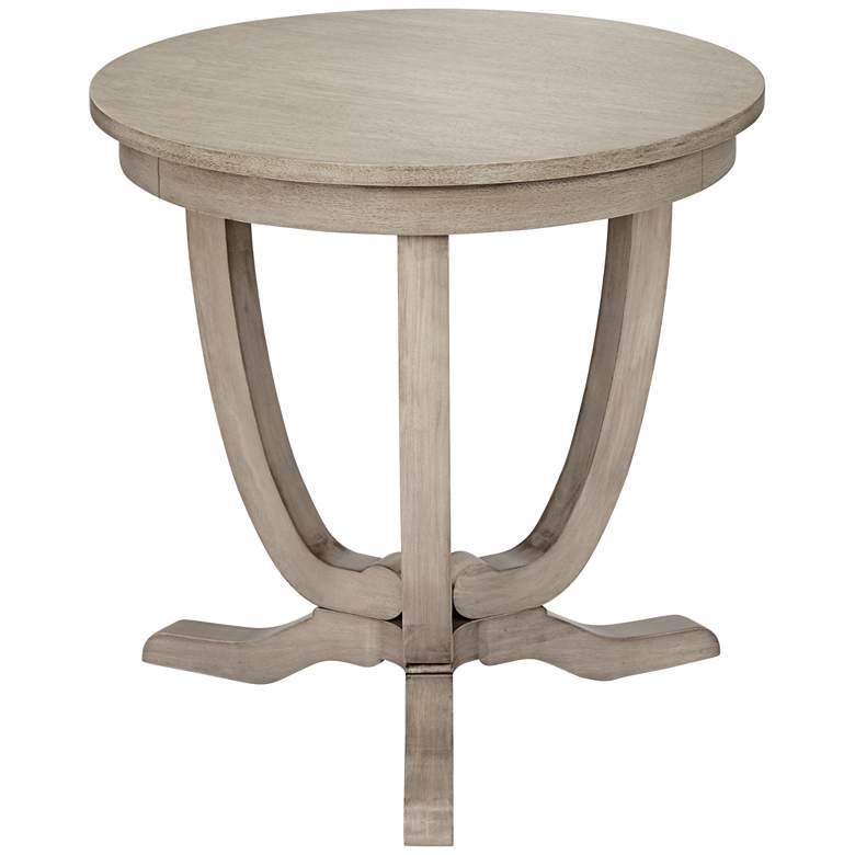 Nash Whitewashed Round Accent Table