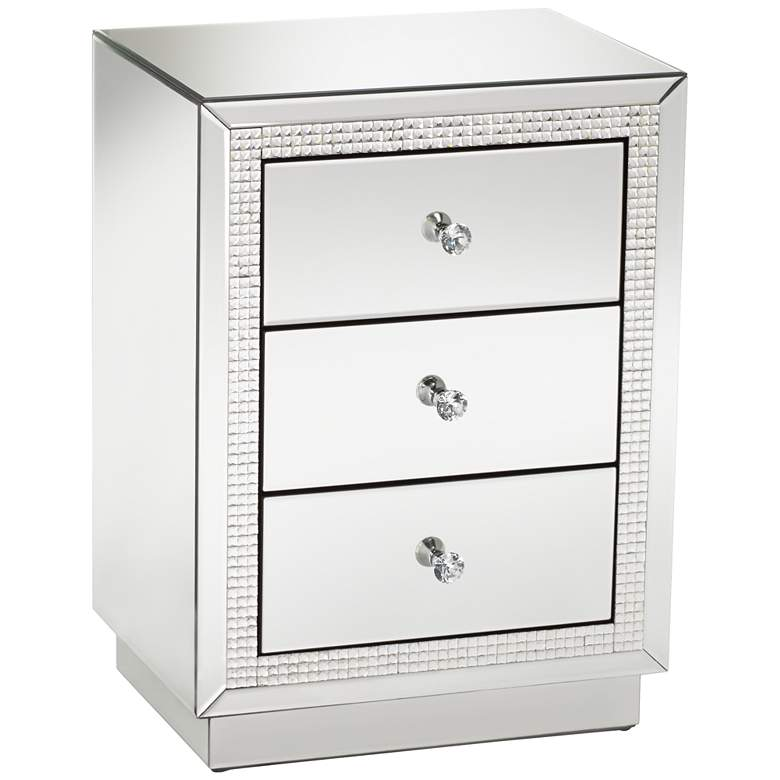 """Biscaya 19"""" Wide 3-Drawer Beaded Mirrored Side Table"""