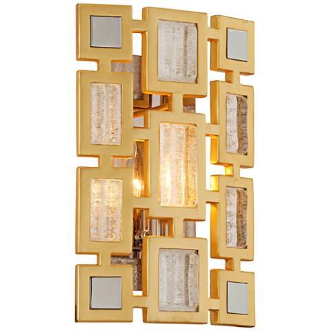 "Corbett Motif 13 3/4"" High Gold Leaf Wall Sconce"