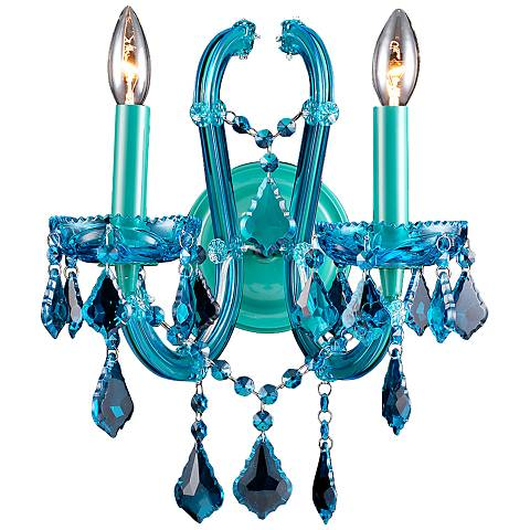 "Avenue Ocean Dr. 15"" High Blue Crystal Wall Sconce"