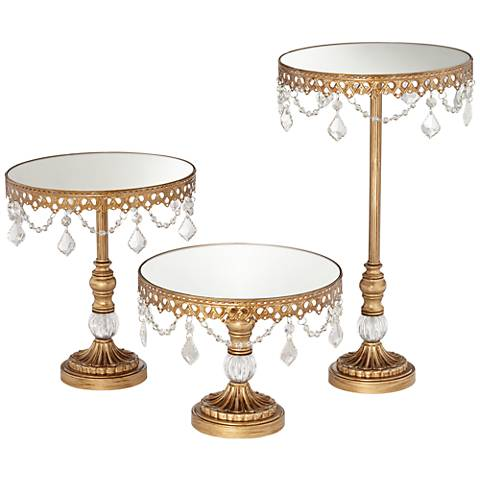 Antique Gold Beaded Mirror-Top Round Cake Stands Set of 3