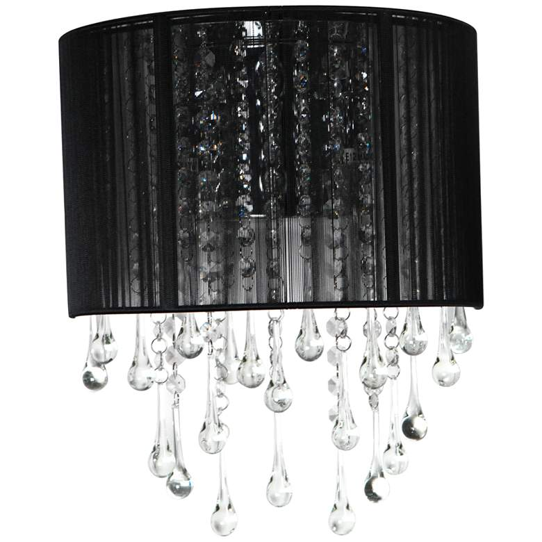 """Avenue Beverly Dr. 14"""" High Black Silk String Wall Sconce"""
