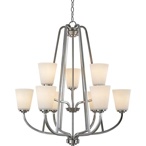 "Artcraft Hudson 28 3/4""W Brushed Nickel 9-Light Chandelier"