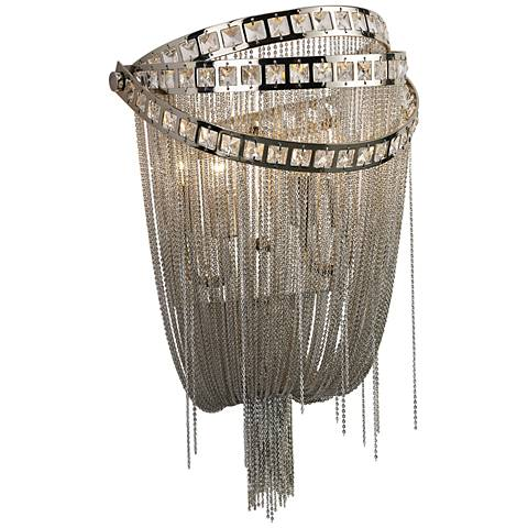 """Avenue Wilshire Blvd. 16"""" High Polished Nickel Wall Sconce"""