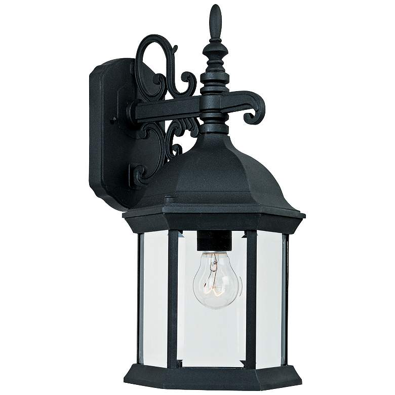 """Devonshire 16 1/2""""H Clear Glass Black Outdoor Wall Light"""