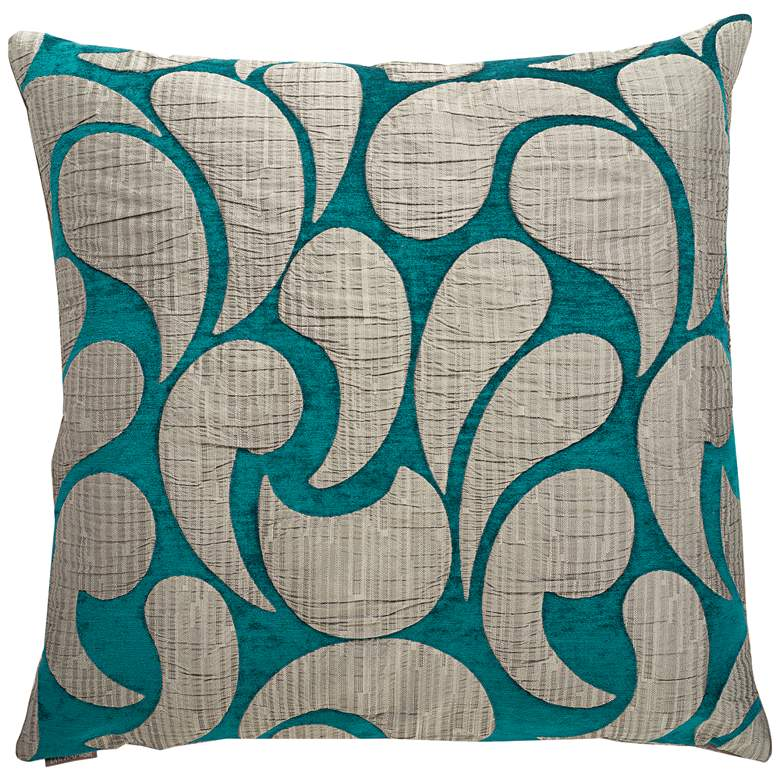 """Drizzle Peacock 24"""" Square Decorative Throw Pillow"""