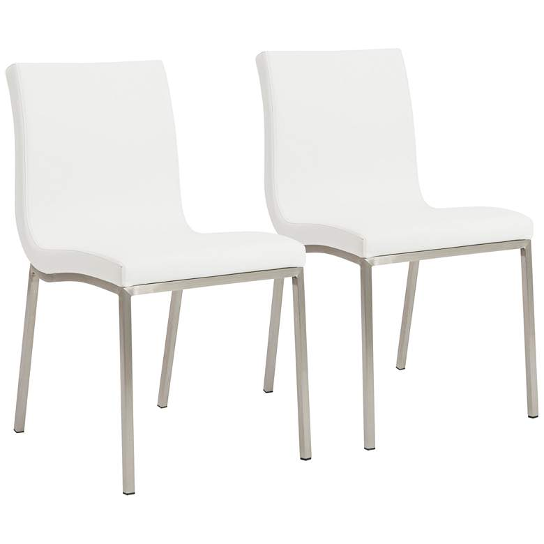 Scott Steel and White Leatherette Dining Chair Set