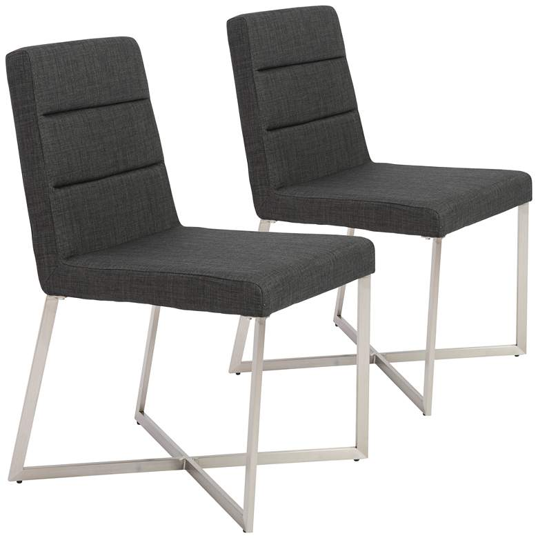 Tosca Steel and Charcoal Fabric Dining Chair Set of 2