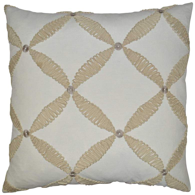 "Windward Ivory 24"" Square Decorative Throw Pillow"