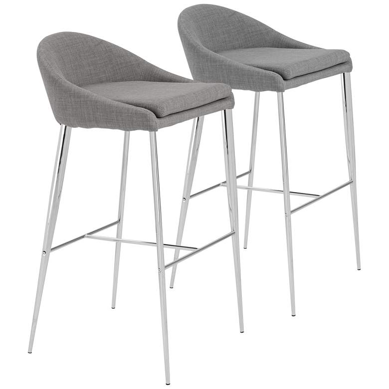 "Brielle 30"" Chrome and Gray Fabric Barstool Set of 2"