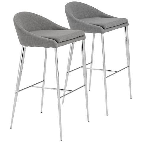 """Brielle 30"""" Chrome and Gray Fabric Barstool Set of 2"""