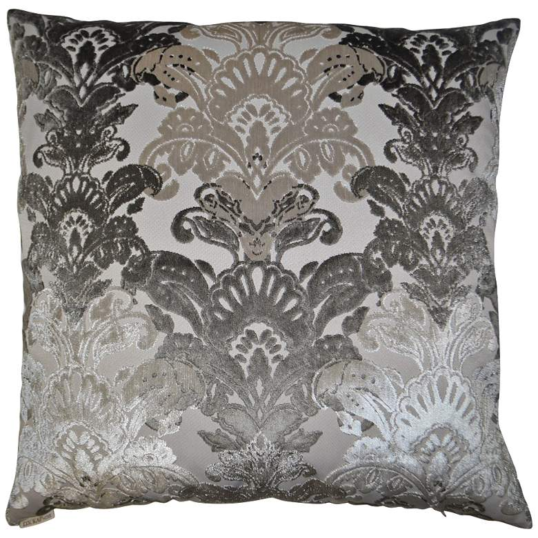 "Schubert Platinum 24"" Square Decorative Throw Pillow"