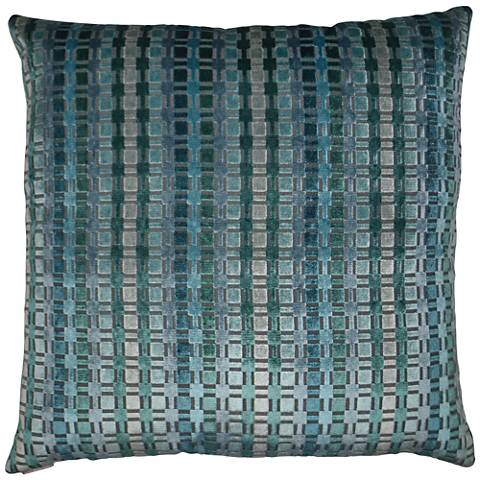 "Times Teal 24"" Square Decorative Throw Pillow"