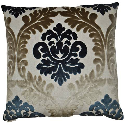 """Madelaine Blue and Taupe 24"""" Square Throw Pillow"""