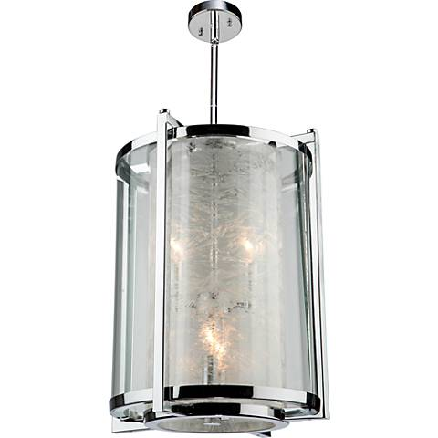 "Crackled Ice 13""W Chrome Column 4-Light Chandelier"