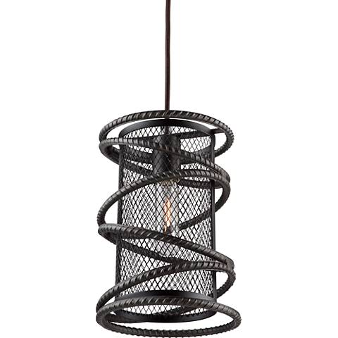 "Artcraft Rebar Studio 7"" Wide Dark Java Brown Mini Pendant"