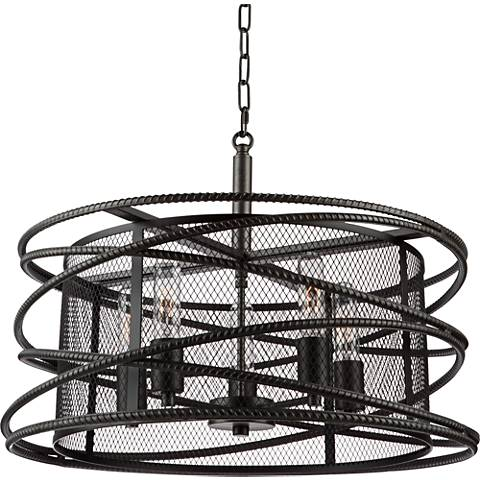 "Rebar Studio 22""W Dark Java Brown 5-Light Chandelier"