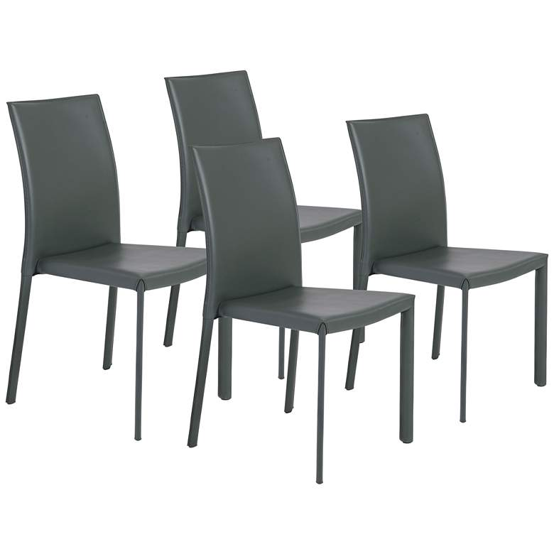 Hasina Gray Regenerated Leather Steel Side Chair Set of 4