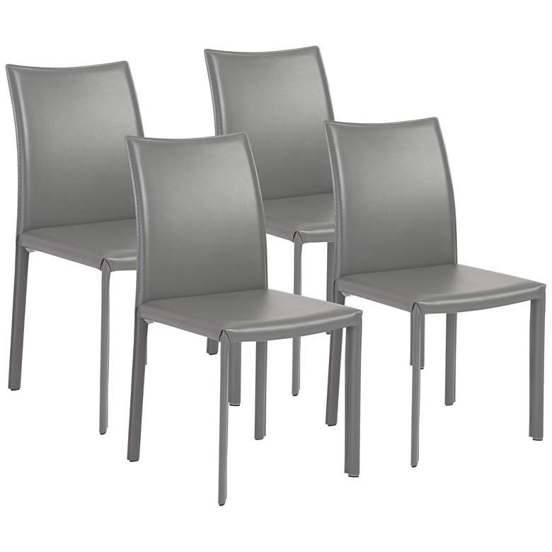 Molly Gray Leatherette and Steel Dining Chair Set of 4