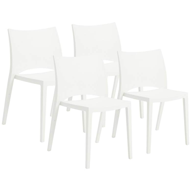 Leslie White Polypropylene Stacking Side Chair Set of 4