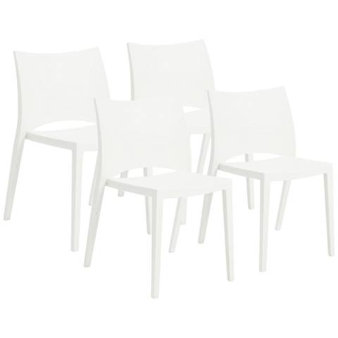Leslie White Polypropylene Stacking Side Chair Set of 4