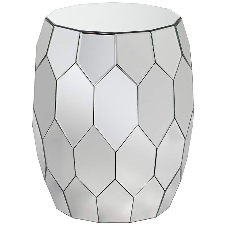 "Vezzena 22"" High Mirrored Geometric End Table"