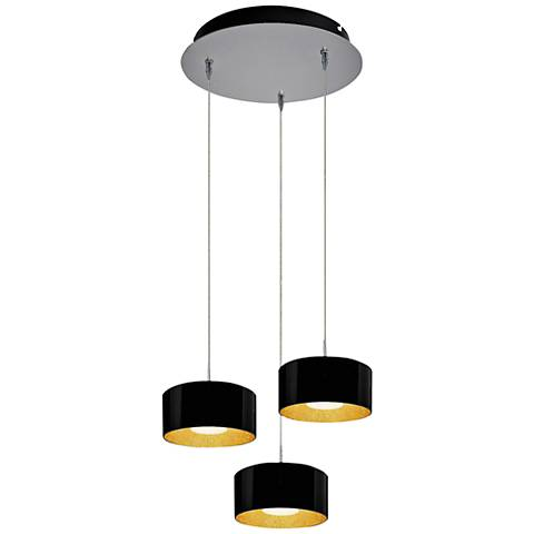 "Cantara 7 1/2"" Wide Black Glass LED Multi Light Pendant"