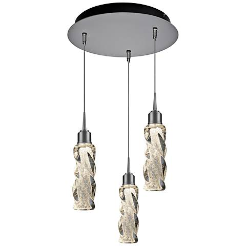 "Bruck Aria 2"" Wide Clear 3-Light LED Multi Light Pendant"