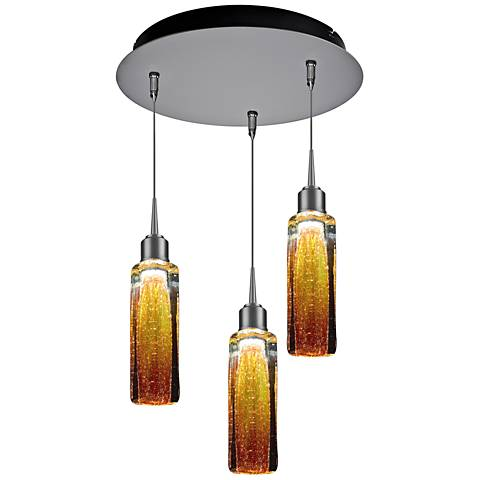 "Bruck Capella 2"" Wide Amber 3-Light LED Multi Light Pendant"