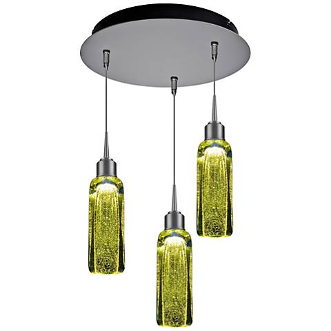 "Bruck Capella 2"" Wide Green 3-Light LED Multi Light Pendant"