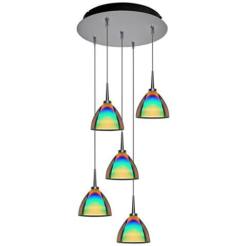"Rainbow 4 1/2"" Wide Sunset Glass LED Multi Light Pendant"