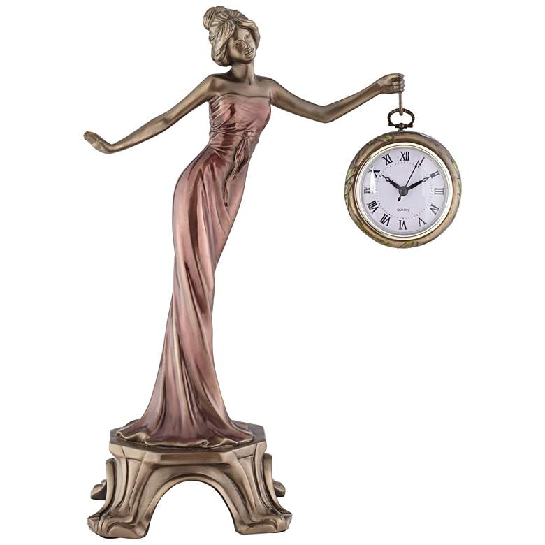 "Time Figurine with Clock 17 1/2"" Statue"