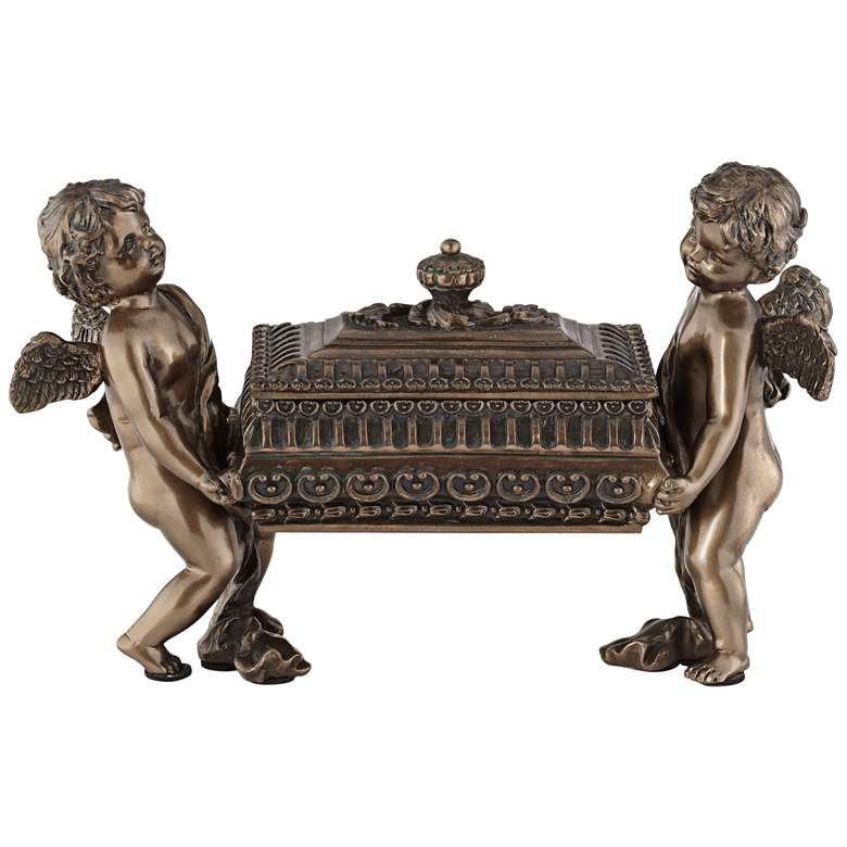 "Cherubs 10 1/4"" Wide Curio Accent Jewelry Box"