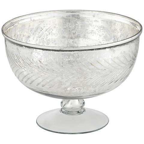 Elena Small Round Silver Glass Decorative Bowl
