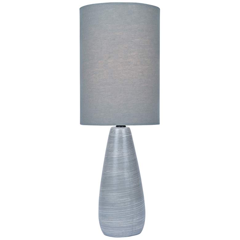 """Quatro 17""""H Gray Modern Accent Table Lamp with Gray Shade"""