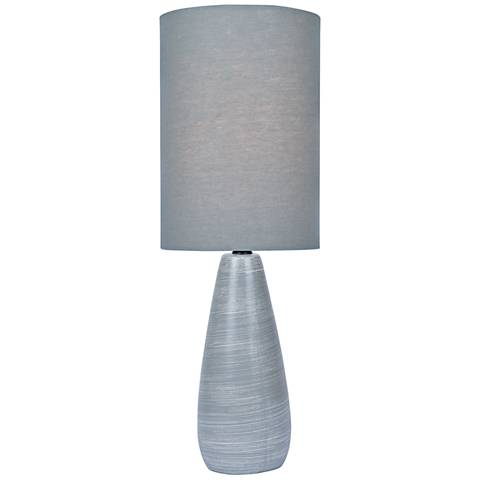 "Quatro 17""H Gray Modern Accent Table Lamp with Gray Shade"